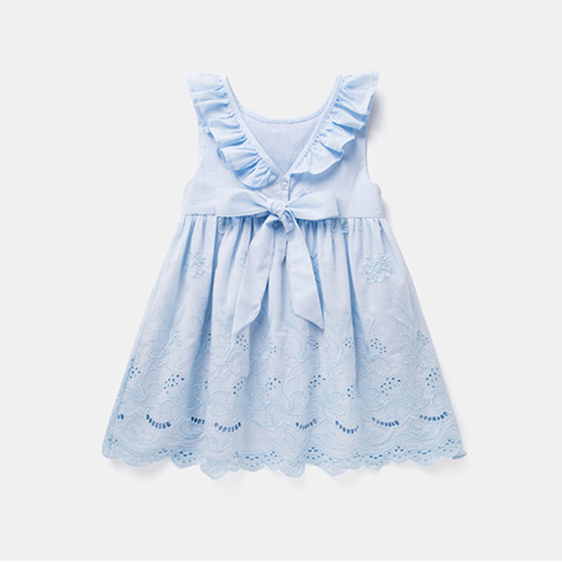 Hurave baby Girl ruffles drawstring bow clothes Children embroidery sleeveless dresses Kids Clothes crew neck dress yellow hollow design crew neck flared sleeves dress