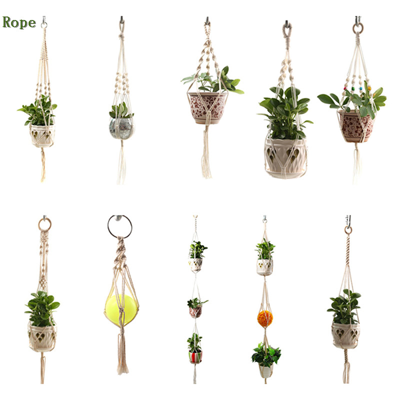 Macrame Plants Hanger Flower Pot Holder Wall Art Home Garden Balcony Decoration