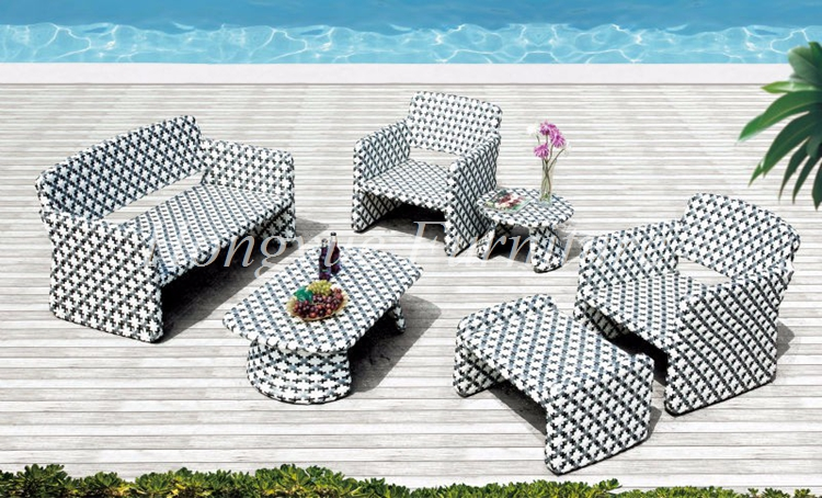 New designs six pieces rattan sofa set furniture with foot stool
