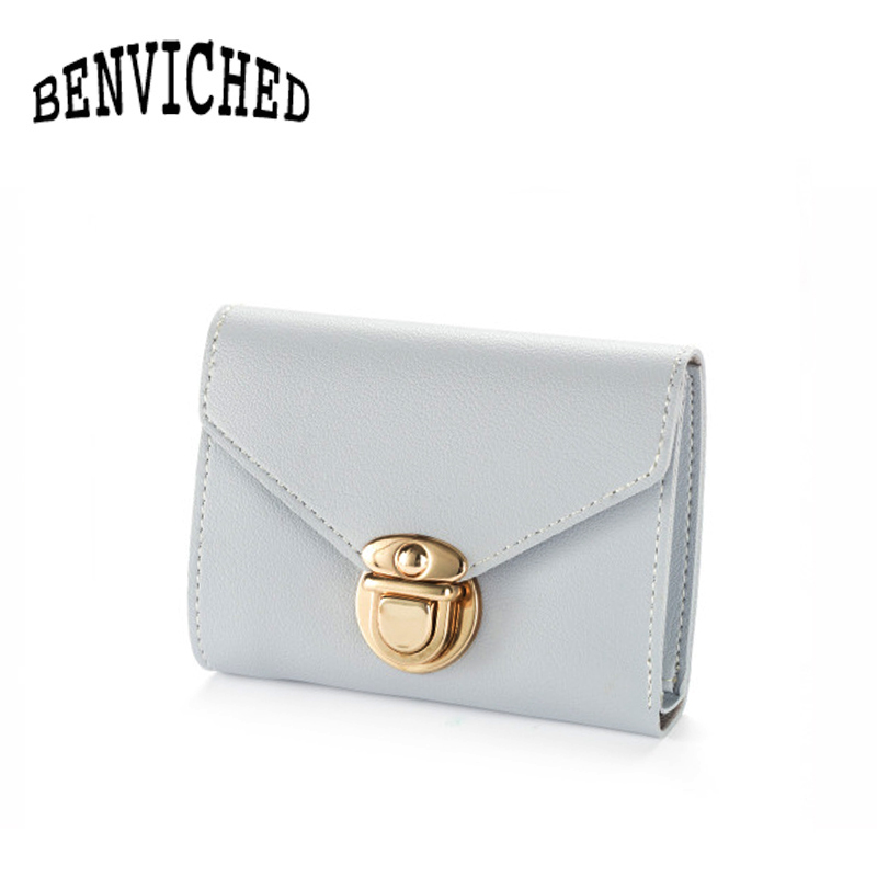 BENVICHED 2018 new wallet women short section lock solid color simple small wallet wild retro card bit soft wallet R412