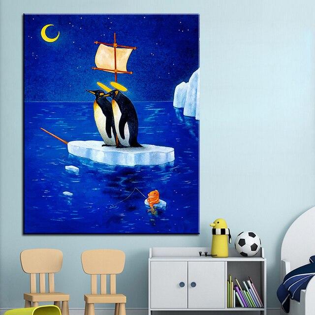 Große Größe Druck Ölgemälde Gute Pinguin Schiff Wand Malerei Wandkunst  Dekoration Bild Für Wohnzimmer Malerei Kein