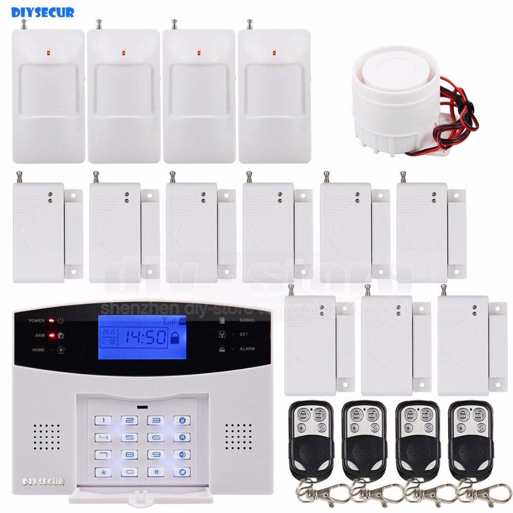 DIYSECUR Wireless Gsm Intruder Home Security System 850/900/1800/1900MHz Remote Control PIR Motion Door Sensor Siren efcom pro wireless 850 900 1800 1900mhz gprs gsm module w antenna white