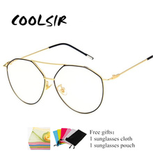 COOLSIR 2019 Fashion New Retro Irregular Glasses Frame Metal Personality Polygon Trend Men and Women Flat Mirror