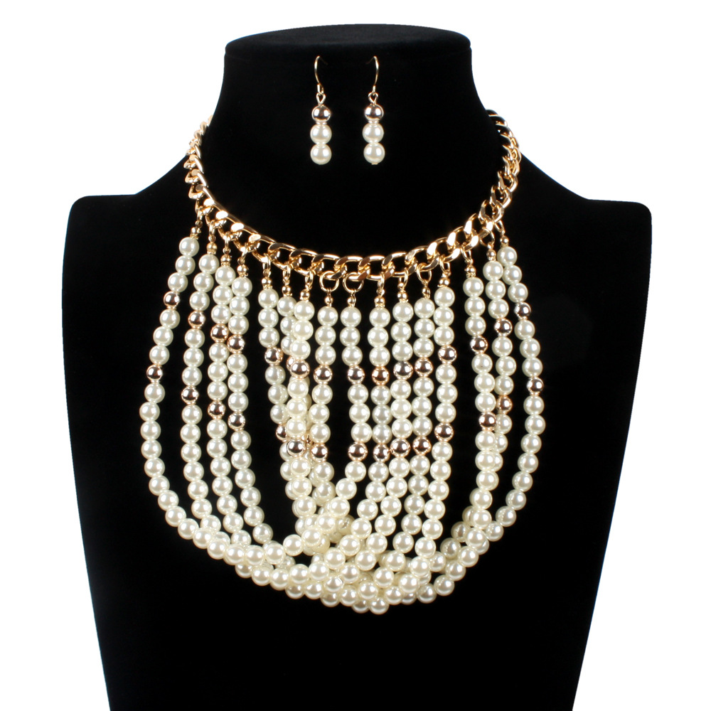 Simulated Pearl Earrings And Necklace Set Party Jewelry
