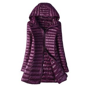 Image 1 - 2020 automne veste femmes canard vers le bas mince longue Parkas dames chaud manteau à capuche grande taille 5XL 6XL Ultra léger hiver intérieur manteaux