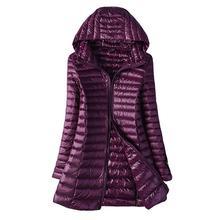 2020 الخريف سترة المرأة بطة أسفل ضئيلة طويلة سترات السيدات معطف دافئ مقنعين حجم كبير 5XL 6XL الترا ضوء الشتاء داخلي معاطف
