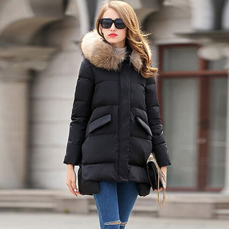 ФОТО Winter Jacket Women 2016 New Fashion Natural Real Large Raccoon Fur Hooded Loose Thickening Warm Parka Winter Jacket