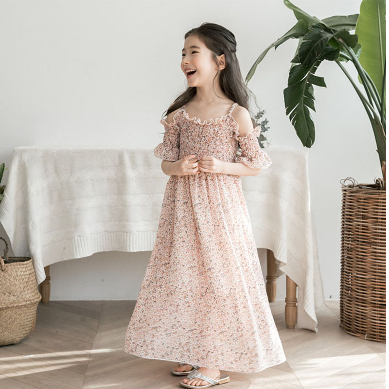 Floral Maxi Long Dress Girl A Line Dress Mother Daughter Clothes Big Girls Dresses Summer 2019 Pink Green Beach Holiday Clothing Платье