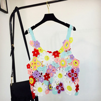 Women Summer Short Vest Sexy Hollow Out O Neck Beachwear Colorful Flower Lace Sleeveless Crop Tops