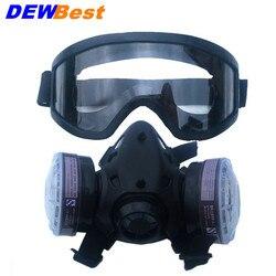 New Meia Face Máscara de Gás Com Óculos Anti-fog N95 Respiradores Máscara de Respiração Filtro de Pó Químico para Pintura em Spray soldagem