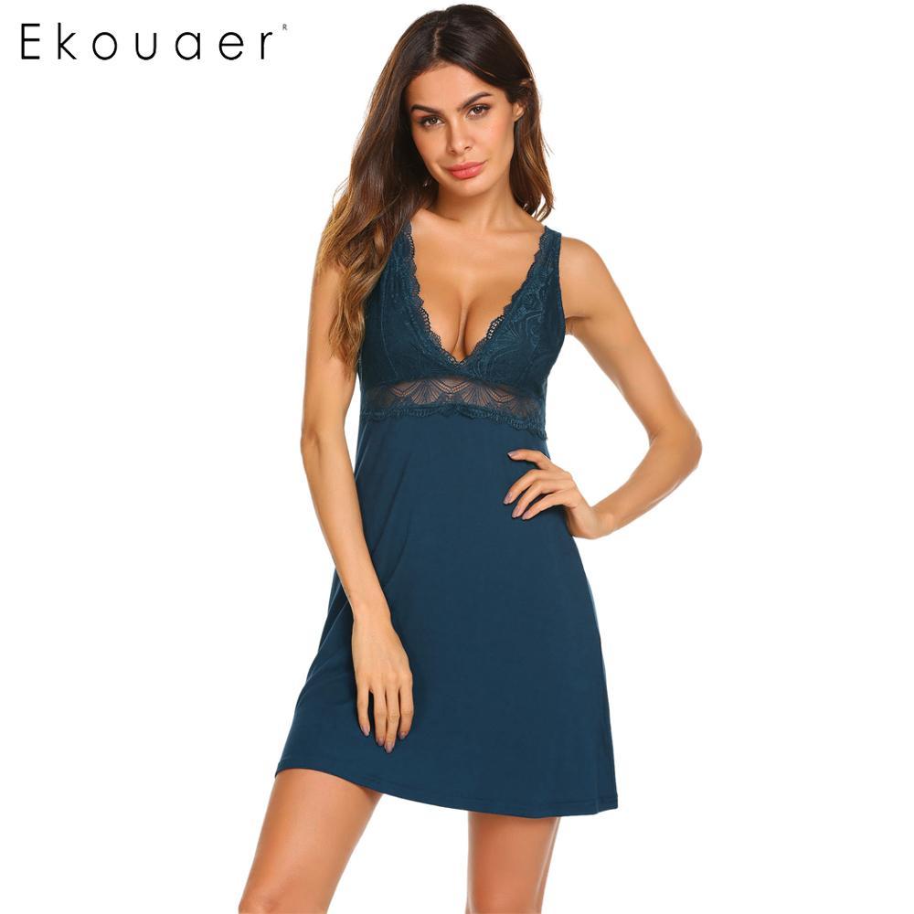 Ekouaer Women Sexy Lingerie Sleepwear Nightgown Casual Lace Patchwork V Neck Nightdress Summer Sleepshirts Dress