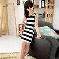 2017 Spring Summer Style Girls Children Sleeveless Dresses In Black Clothes And White Stripes Vest Dresses