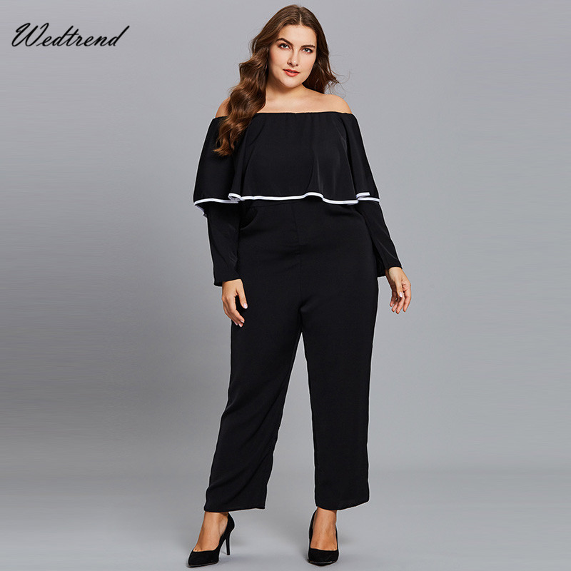 Wedtrend Off The Shoulder Black Jumpsuits Elegant Slim Female Causal Bodysuits Vintage New Arrival Cheap Classic Women Playsuits