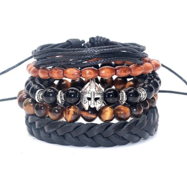 b4dc0b1a3826 1 Unidades 5 piezas hombres pulsera de cuero genuino brazalete Onyx del ojo  del tigre granos