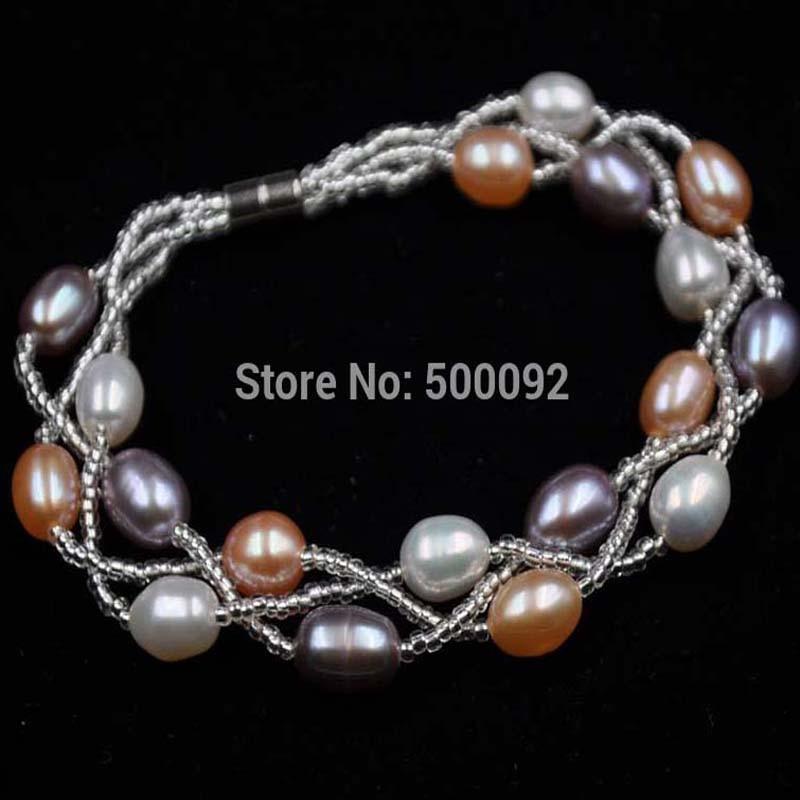 0351ec94c7a2 ④Multicolor 3 líneas arroz perla de agua dulce pulsera 6