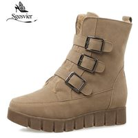 SGESVIER Women Winter Ankle Boots Buckle Platform Low Heel Shoes Woman Warm Snow Boots Round Toe