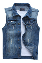 TIGER KNIFE 2017 New Fashion Mens Denim Vest Vintage Sleeveless washed jeans waistcoat Man Cowboy ripped Jacket Tank Top