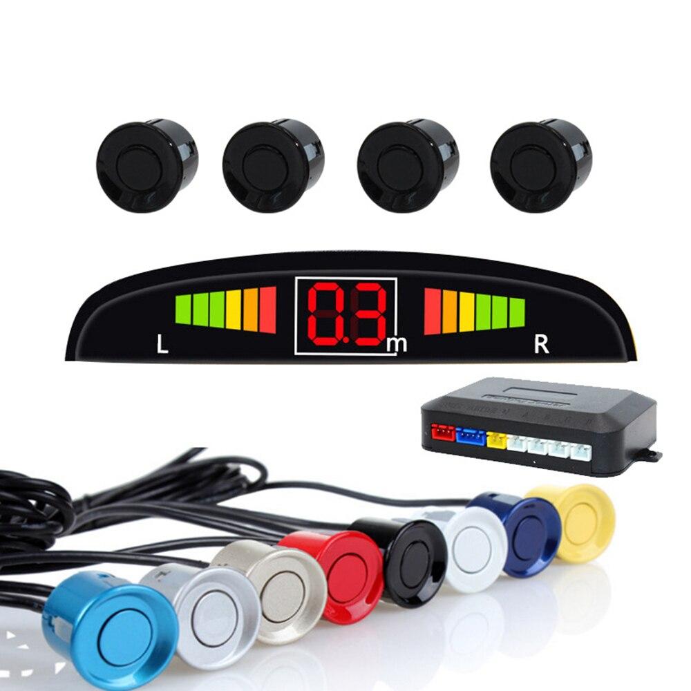 LED Auto Parktronic Com Sensor De Estacionamento automóvel Multicolor Opcional 4 Sonda Buzzer BiBi Invertendo Radar 12 V Backlit Exibição Crescente