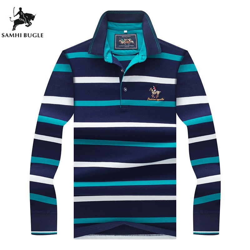 Business 3D Embroidery Poloshirt Men Striped Lapel Mens   Polos   Casual Long Sleeve   Polo   Shirt Men 2019 New Arrival Polosshirt