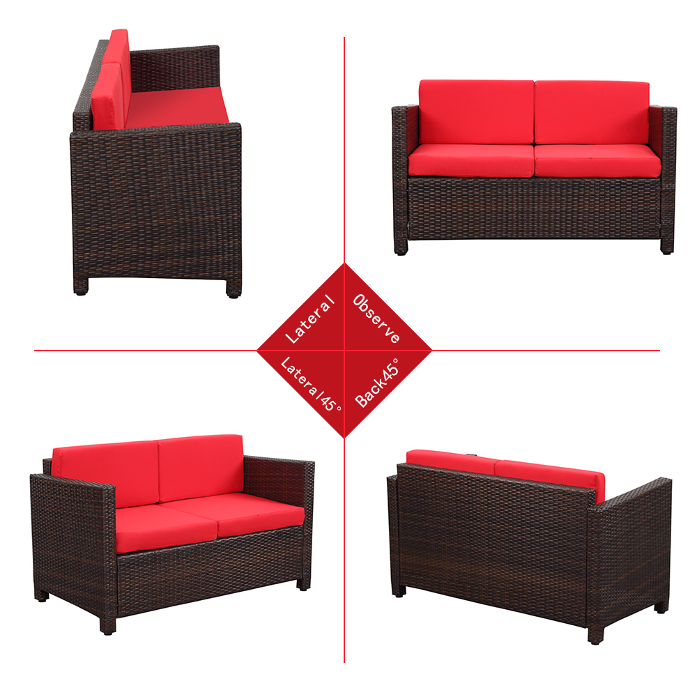 Ikayaa Us Stock Wicker Cushioned Patio Furniture Set Garden Lawn  # Gebrauchte Muebles