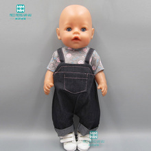 Doll clothes for baby born doll accessories Casual imitation denim overalls toys for girls