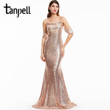 Tanpell spaghetti straps evening dresses pink cap sleeves sequins floor  length gown cheap women party mermaid long evening dress 2527b367d942