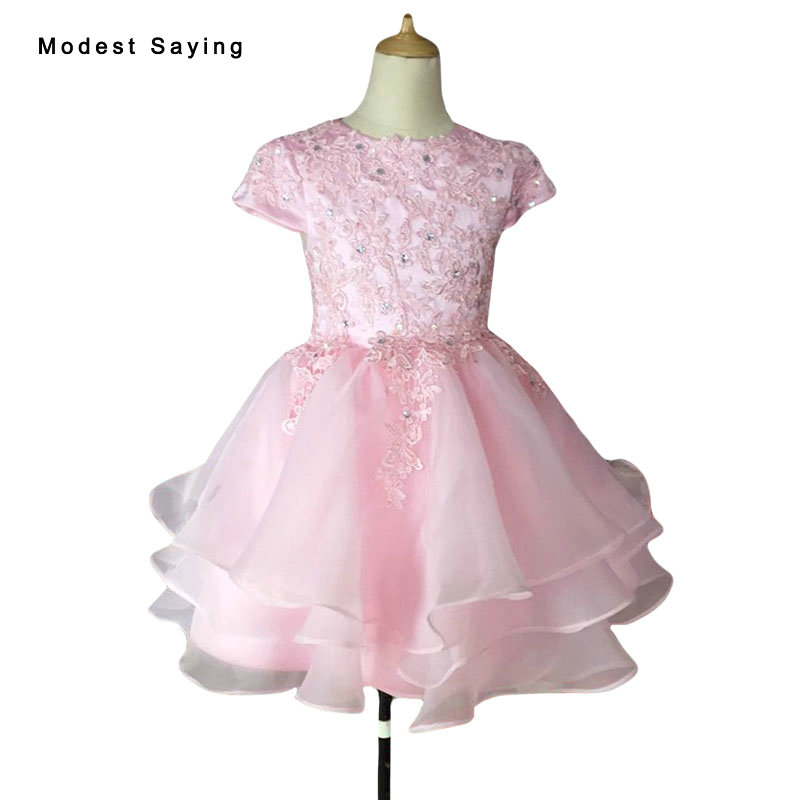 Real High Quality Pink Lovely Ball Gown Beaded Lace Pageant   Flower     Girl     Dresses   2017 Knee Length Organza   Girls   Party Gowns F32