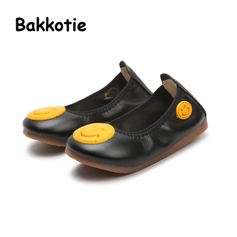 Bakkotie 2018 Spring New Fashion Children Pu Leather Smile Flat Baby Girl Casual Soft Shoe kid Black Boy Brand Cute Slip-On
