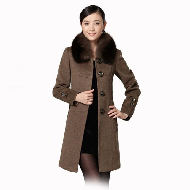 Winter temperament high quality women's elegant style cashmere overcoat with fox fur  black/camel