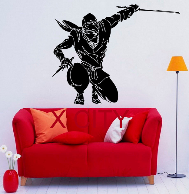 Ninja japan mysterious wall decal vinyl stickers fighter art interior bedroom removable home decor 57 x