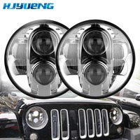 HJYUENG 80W 7 Round LED Headlight Projector With Hi Lo Beam DRL Driving Headlamp For Jeep