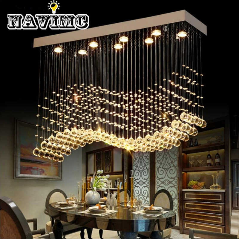 K9 Crystal Chandeliers LED Chrome Finished Light Wave Art Decor Modern Suspension Lighting Hotel Villa Hanging Lamp