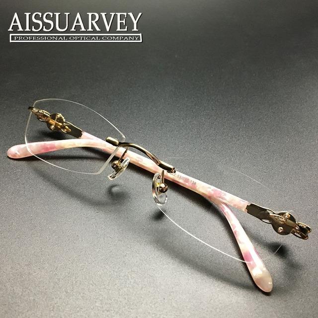 Mulheres óculos de armação de moda óculos óptica prescrição titanium sem aro elegante rhinestone diamante marca desinger rosa novo