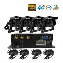 Free Shipping 4CH GPS 4G WIFI 1080P AHD 256GB SD Car DVR Video Recorder Kit Phone