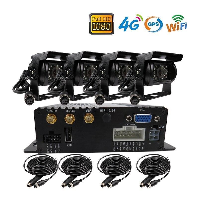 Free Shipping 4CH GPS 4G WIFI 1080P AHD 256GB SD font b Car b font DVR