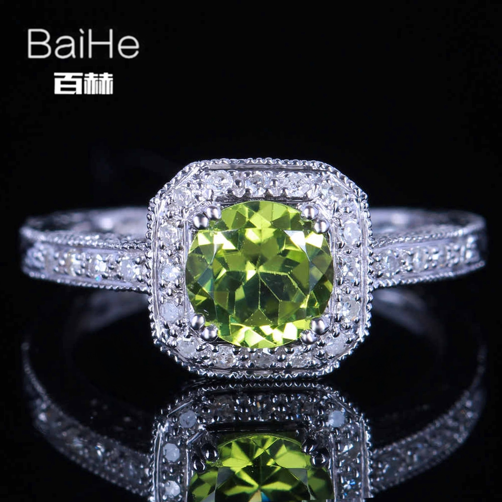 BAIHE Sterling Silver 925 0.841CT Certified Green Flawless Round Genuine Peridot Wedding Women Trendy Fine Jewelry fashion Ring