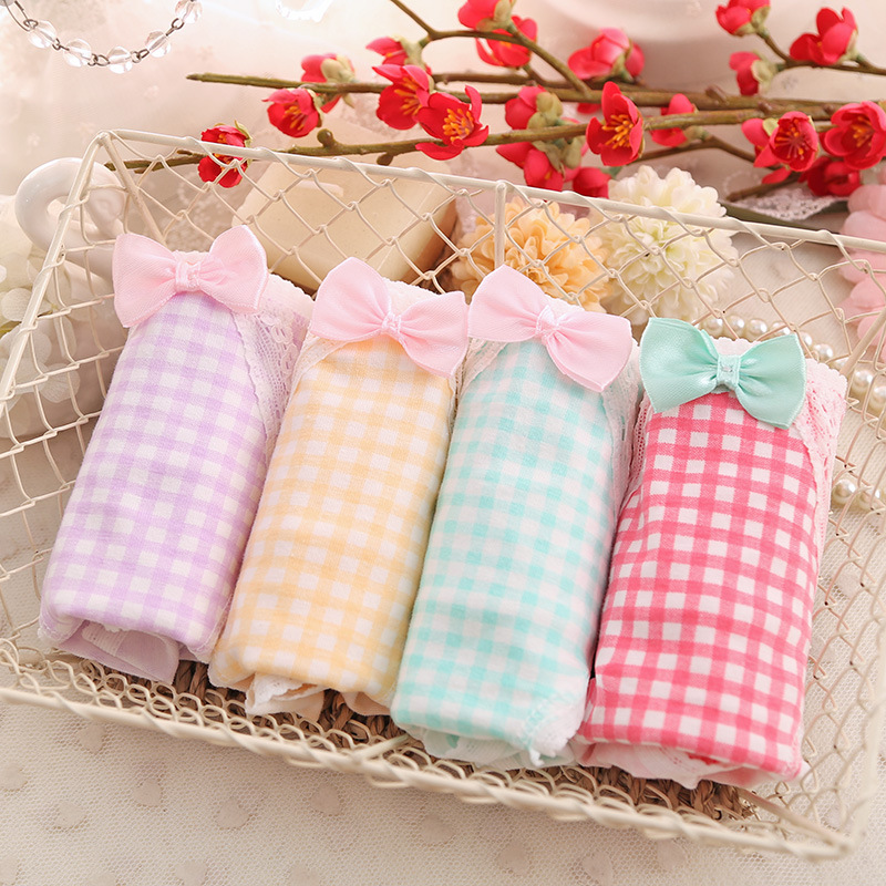 Pastoral Style Pure Cotton Lady's Underwear Lovely Bowknot Lady's Cotton Underwear