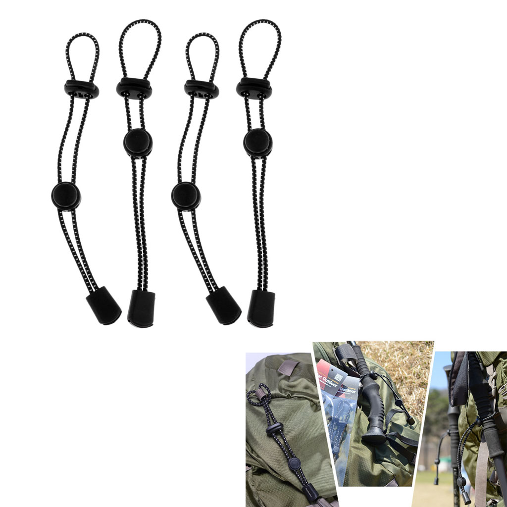 Image 4 - 4Pcs Backpack Securing Hiking Walking Stick Elastic Rope Holder Adjustable Outdoor Climbing Accessories 19cm Black-in Climbing Accessories from Sports & Entertainment