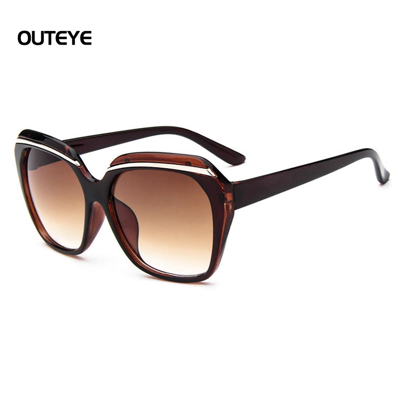 outeye fashion large frame sunglasses women decorative bar trend sunglasses protection eyes female eyewear goggles shades