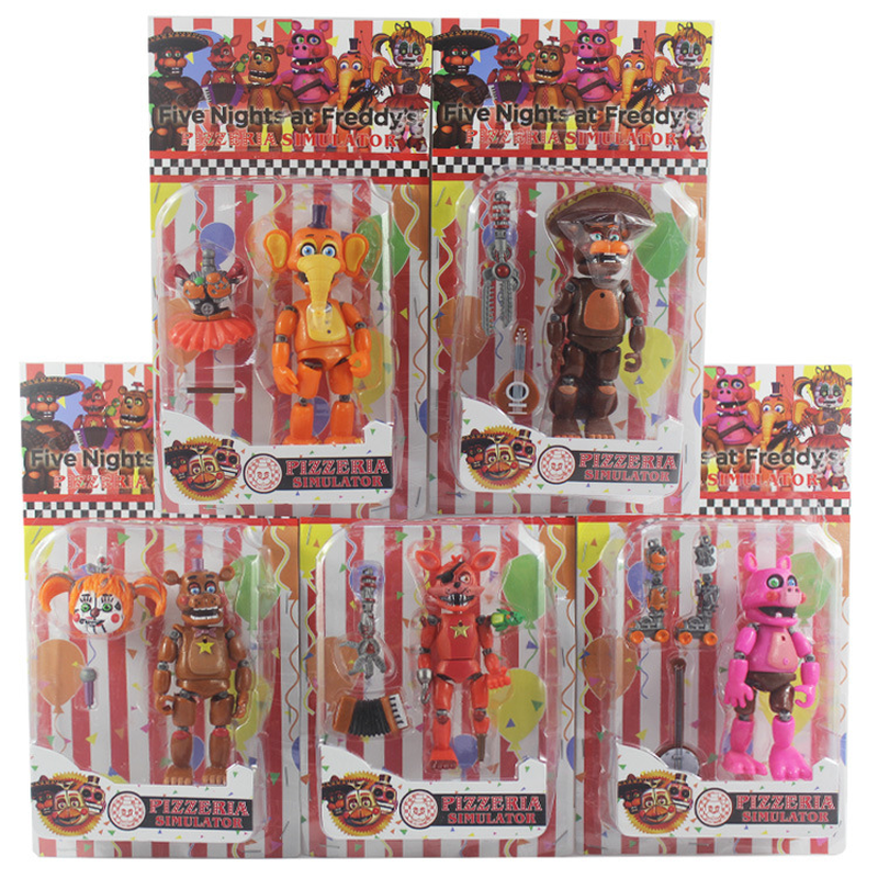 FNAF Five Nights At Freddys Toys Freddy Fazbears Pizzeria Simulator Ver Foxy Chica Lighte Movable Joints Doll Kid Toy 6Pcs/setFNAF Five Nights At Freddys Toys Freddy Fazbears Pizzeria Simulator Ver Foxy Chica Lighte Movable Joints Doll Kid Toy 6Pcs/set