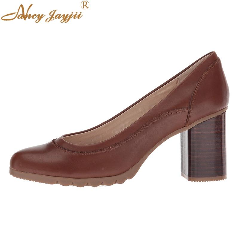 Maroon Chocolate Mid High Wood Print Chunky Heels Slip On Comfortable Retro Pumps Round Toe Dress Leisure Women Shoes 2019