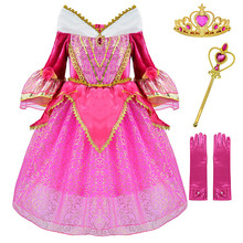Pink Summer Party Dress Girls Sleeping Beauty Costume Christmas Frock Kids Princess Aurora Cosplay Ball Gown Halloween Vestidos