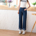 2017 Blue High Waist Jeans Woman Elastic Femme Women Denim Baggy Jeans Wide Leg Regular Rock Jeans Pants Women Loose Jeans