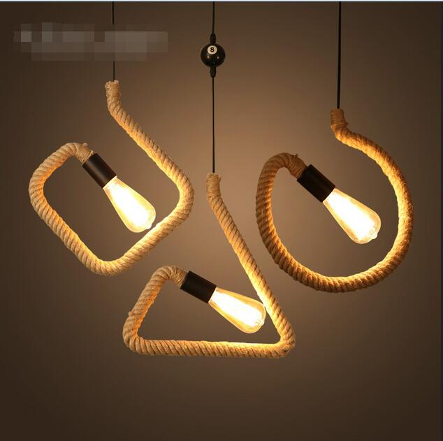 цена A1 American Pendant lights retro rope creative garden restaurant bar farmhouse decorative lamp character studypendant lamp