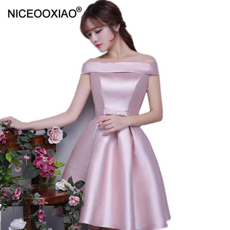 Niceooxiao Robe De Soiree 2018 Nude Pink Short Evening Dress Women Elegant Boat Neck Formal -5006