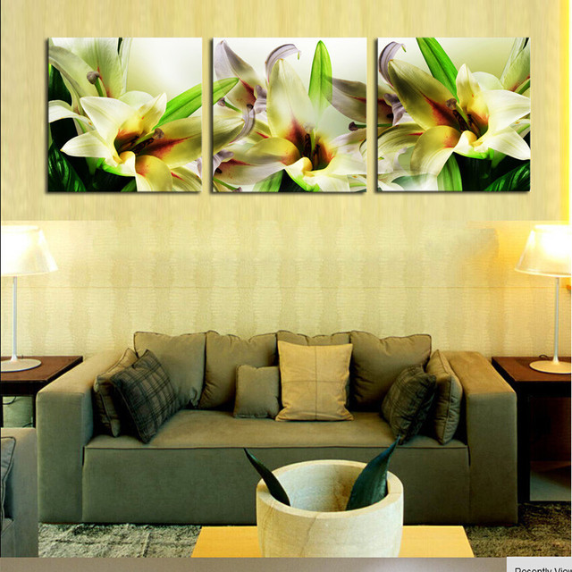 Aliexpress.com : Buy 3 Piece Beautiful Lily Wall Painting Home ...