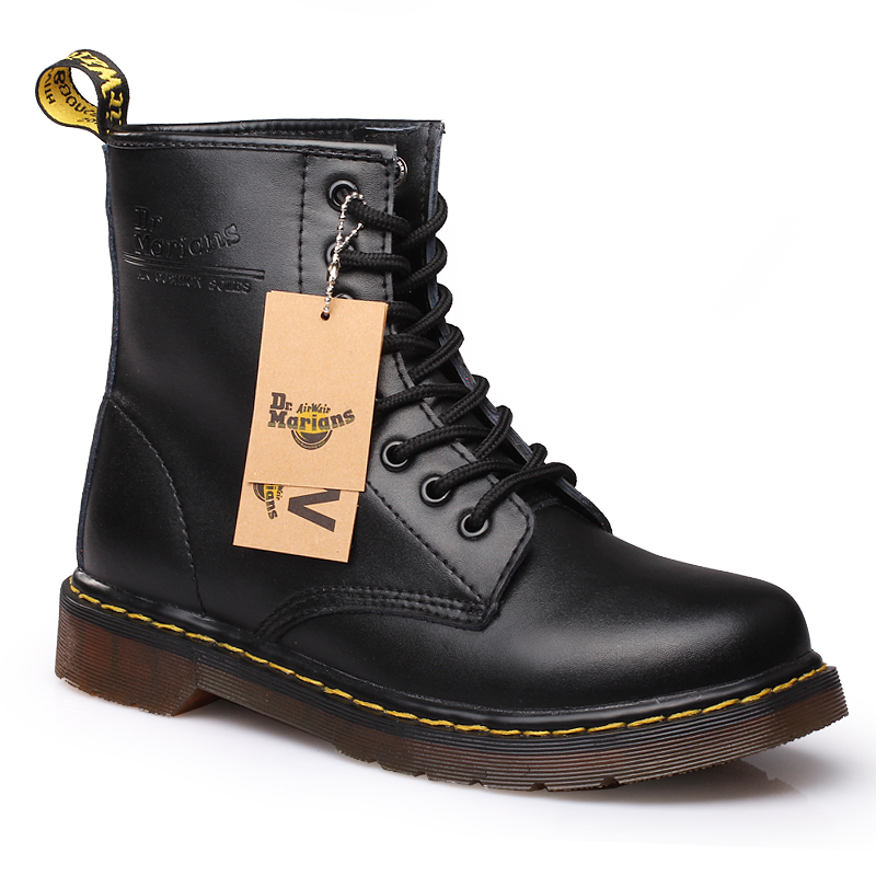 STRONGSHEN Brand Men's Boots Dr. Martens Leather Winter Warm Shoes Motorcycle Mens Ankle Boot Doc Martins Fur Men Oxfords Shoes