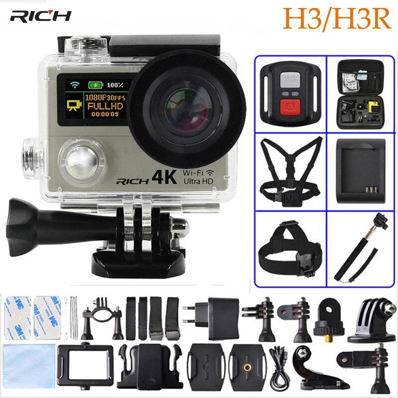 Caméra d'action H3/H3R Ultra HD 4 K 1080 P télécommande 2 pouces 170D Go grand Angle pro double écran caméra Sport