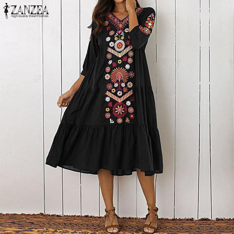 ZANZEA женское летнее платье с v-образным вырезом и рукавом 3/4, женское богемное платье, большие размеры, сексуальный белый пляжный сарафан, жен...