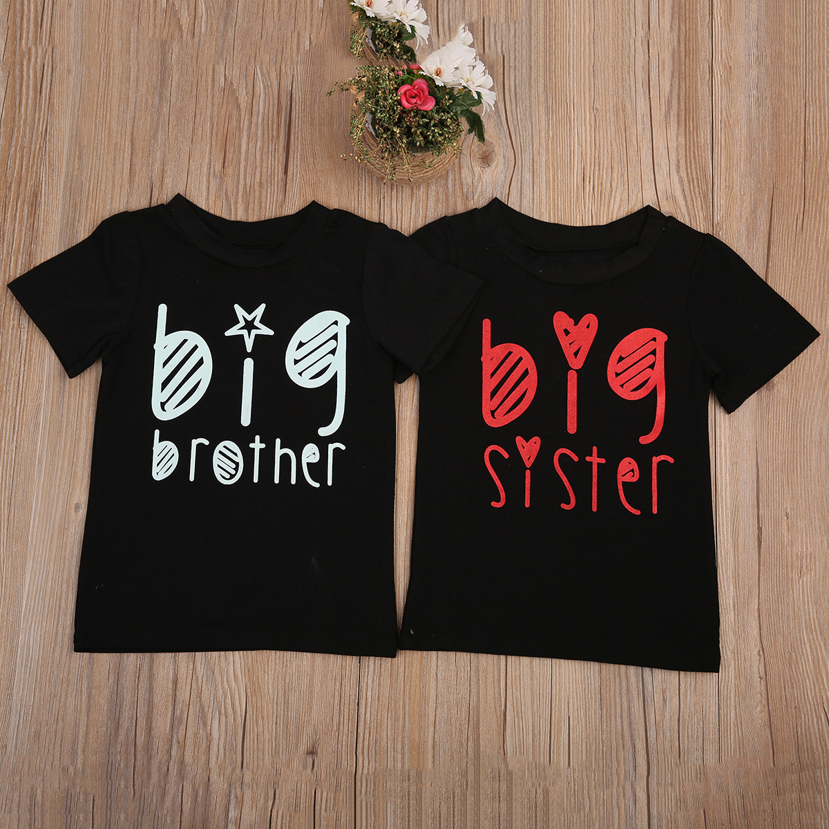 Pudcoco Big sister big brother Graphic tees Black Match Outfit T-shirt